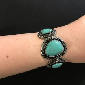 Silver-tone & Faux Turquoise Cuff Bracelet